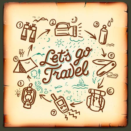 mochila de viaje: blog de viajes, aventura blogs en línea, escribiendo para el sitio web, ilustración vectorial.