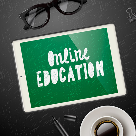 workspace: Online education concept, workspace with device, glasses and cup of coffee, blackboard background, vector illustration.
