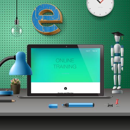 business meeting computer: Training Development, online education concept, vector illustration. Illustration