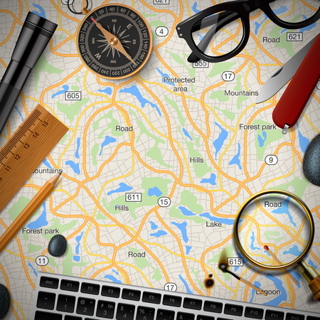destinations: Colourful travel banner with map, keyboard, compass, glasses, ect. Trip plan, top view