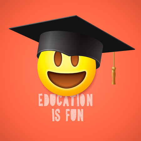 mortarboard: Education is fun, emoticon laughing in the mortarboard, emoji smile symbol Illustration