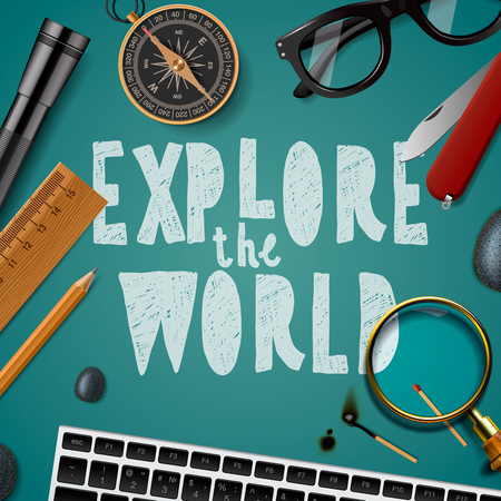 wold: Explore the wold, travel and tourism background Illustration
