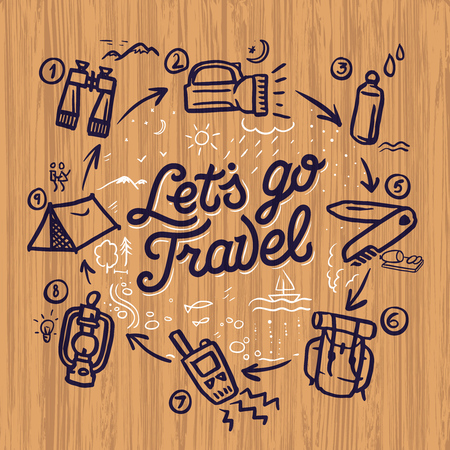 travel locations: Travel and adventure theme doodle elements and concept, mountaineering, hiking, camping. Grunge background, vector illustration.