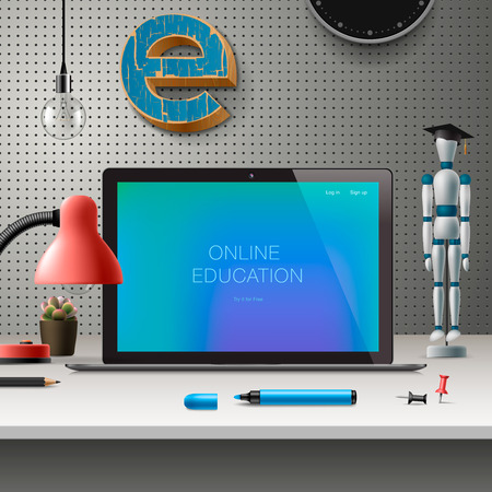 online education: Online education concept, workspace with computer, lamp and office supplies, grey wall background.