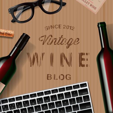 blogs: Blog about wine, wine lovers, tasting, cardboard background.