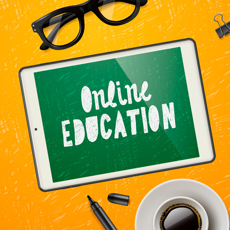 workspace: Online education concept, workspace with device, glasses and cup of coffee, yellow background.