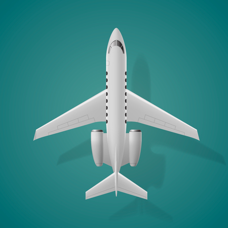 Airplane top view, isolated  on blue background.