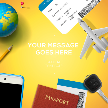 baggage: Preparation for travel, smart phone, ticket, passport, globe, key, airplane, on yellow background.