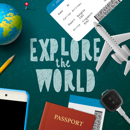 wold: Explore the wold, travel and tourism background, vector illustration.