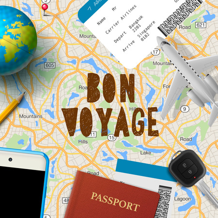 voyage: Bon voyage, planning vacation trip with map, cell phone, money, passport, road, vector illustration.