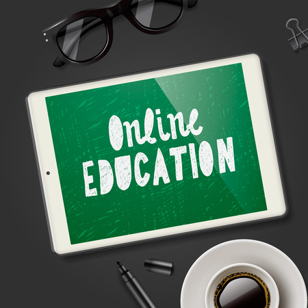 workspace: Online education concept, workspace with pad device, glasses and cup of coffee, black background, vector illustration. Illustration