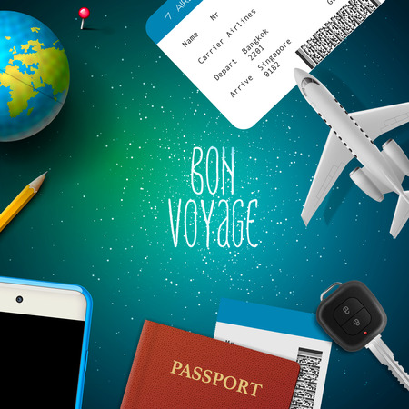 voyage: Bon voyage, travel, vacation, trip, design with airplane, smart phone, ticket, passport, globe, key, vector illustration.