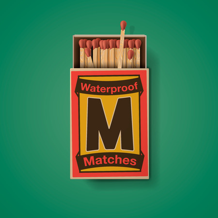cerillos: Matchbox y partidos, vista desde arriba aislado sobre fondo verde, ilustración vectorial. Vectores