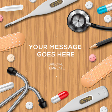 Healthcare and medicine template with medical supplies, wooden background. Concepts for web banners, web sites, printed materials, vector illustration.  イラスト・ベクター素材