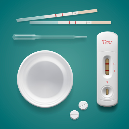 the result pregnancy test: Positive pregnancy test, isolated on turquoise background