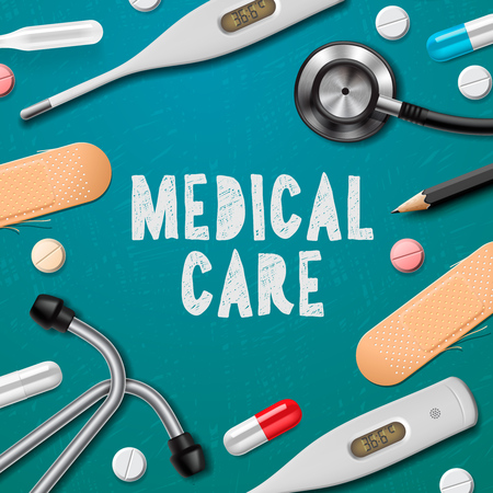 Medical care, medicine template with medical supplies, vector illustration.