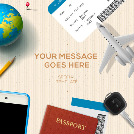 travelling: Travelling background with airplane model, smartphone, plane ticket, passport, key and globe, travel and vacations concept. illustration.