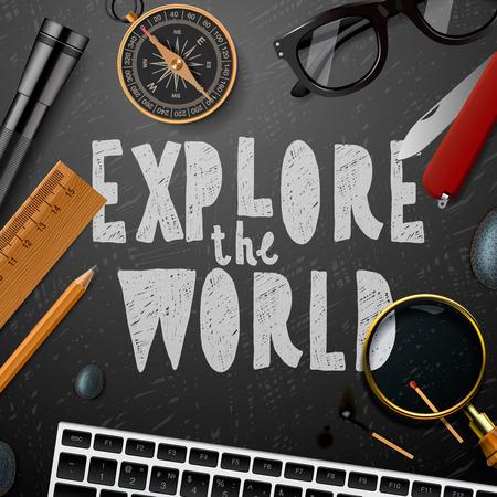 Entdecken Sie die wold, Reisen und Tourismus Hintergrund, Illustration.