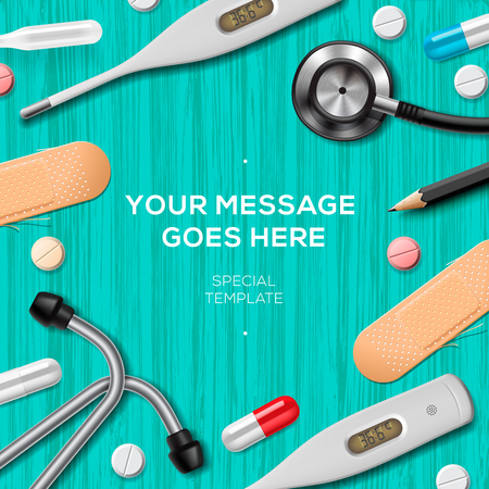 Medical equipment and supplies, medical care template, illustration. Vectores