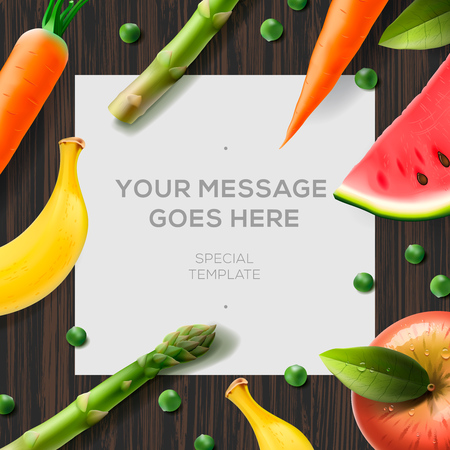 diet plan: Food background, concept for diet plan, fruits and vegetables lying on a wooden surface,  illustration.