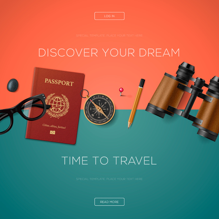 business website: Tourism website template, discover your dream, illustration.