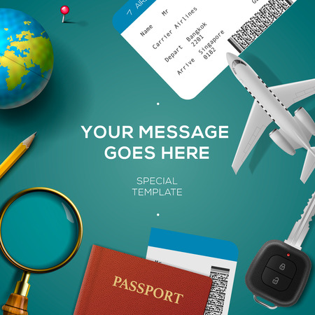 travelling: Travelling template with airplane model, smartphone, plane ticket, passport, key and globe, travel and vacations concept. illustration.