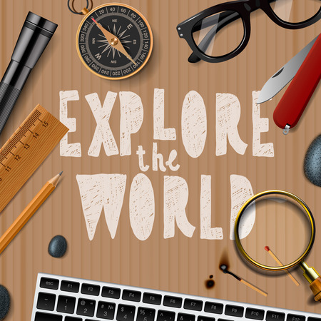 wold: Explore the wold, travel and tourism background, illustration. Illustration