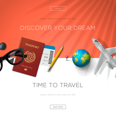 Tourism website template, time to travel, illustration.
