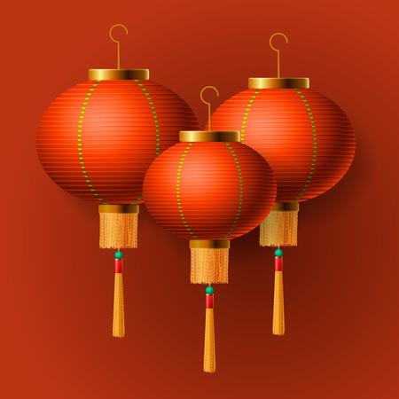 lantern: Oriental Chinese New Year elements, Chinese lantern, illustration. Illustration