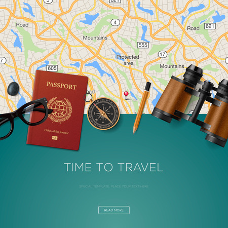 Travel and adventure template, time to travel, for tourism website, illustration. Çizim