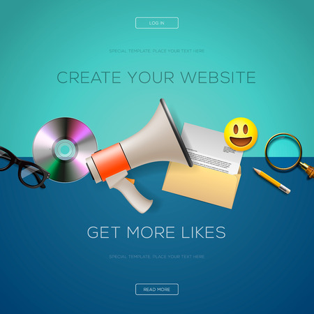 create: Web design content, create your website, get more likes, illustration.