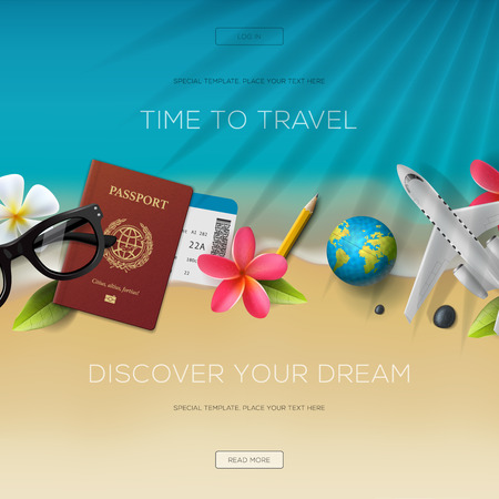 Tourism website template, time to travel, vector illustration. Vettoriali