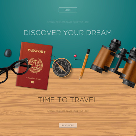 discover: Travel and adventure template, discover your dream, banner for tourism website, vector illustration.