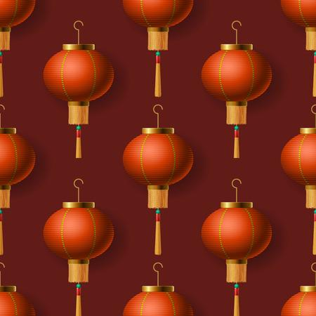 red lantern: Oriental Chinese New Year lanterns, seamless pattern, vector illustration.