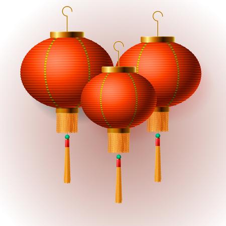 prosperidad: Oriental linternas chinas del Año Nuevo, fondo aislado, ilustración. Vectores