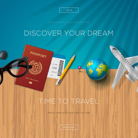 plantilla de página web de turismo, tiempo para viajar, ilustración. Ilustración de vector
