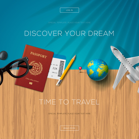 plantilla de página web de turismo, tiempo para viajar, ilustración.