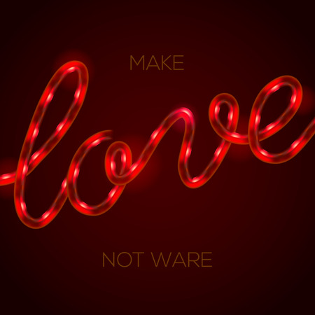 Love - glowing neon light sign, illustration.