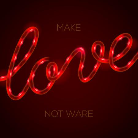 Amore - segnale di neon incandescente luce, illustrazione.