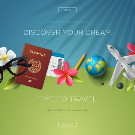 Descubre tu sueño, tiempo para viajar, plantilla de página web, ilustración.