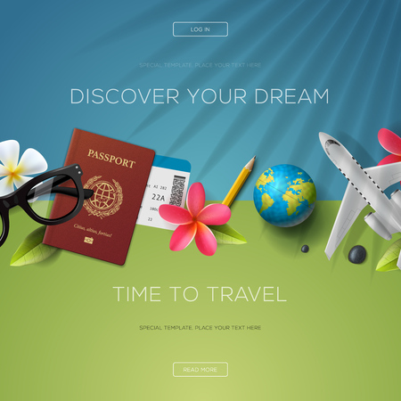 Scopri il tuo sogno, il tempo per viaggiare, modello di sito web, illustrazione.