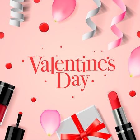 make love: tarjeta de felicitaci�n de Valent�n con caja de regalo, cosm�ticos, l�piz de labios, u�as, y p�talos de rosa de flores, ilustraci�n vectorial.