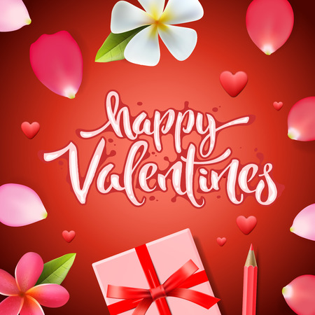 Valentines day background, holiday gift and heart, vector illustration. Illustration
