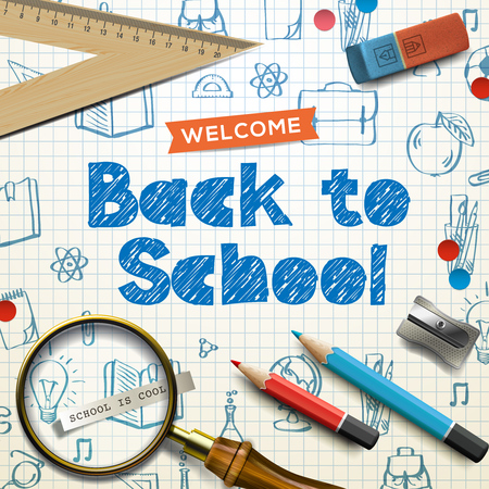 teacher and student: Welcome back to school, supplies, squared paper sheet texture, doodle background, vector illustration.