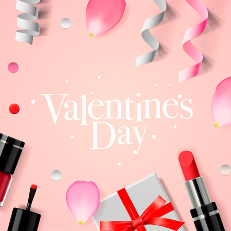 nails: Valentines Day background with gift box, cosmetics, lipstick, nail, and rose flower petals, vector illustration.