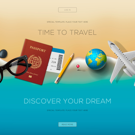 for a dream: Colourful travel banner set for your business, web sites etc. elements and concept for website, discover your dream, vector illustration.