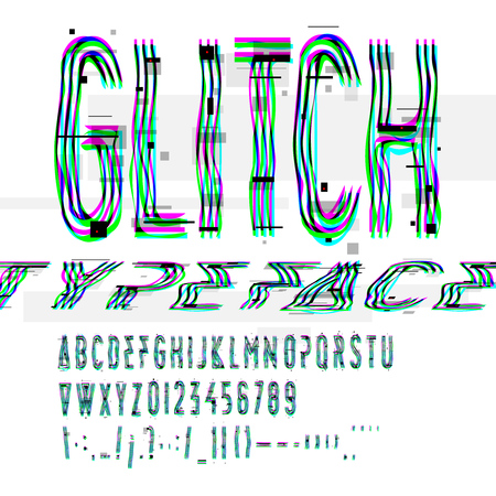 flaw: Typographic glitch font with digital image data distortion, digital decay, vector illustration.