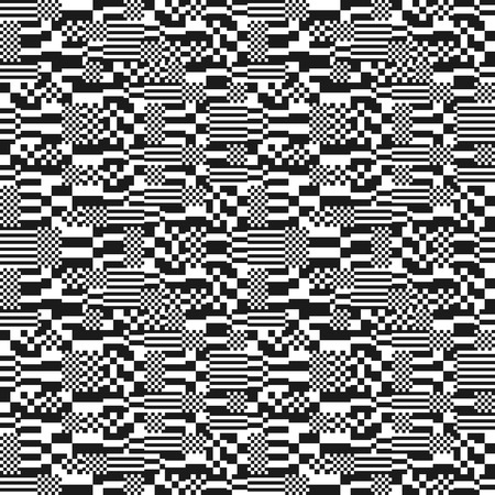 flaw: Glitch abstract seamless pattern, digital image data distortion, black and white  background, vector illustration.