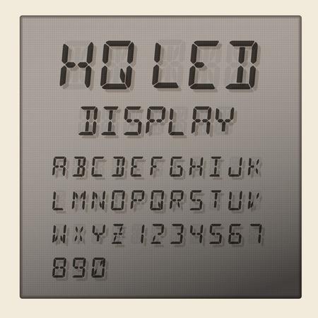 led display: LED digital alphabet and numbers display on grey background, vector illustration.