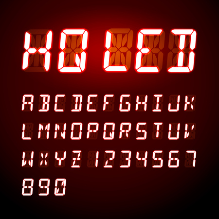 display: LED digital alphabet on black background, vector illustration